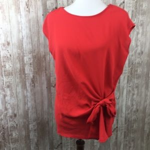 Vince Camuto Red Bow Tie Blouse Size Large